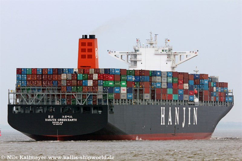 Die Hanjin Green Earth (IMO 9503732) vor Cuxhaven.